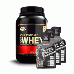 100% Whey Protein Gold Standard (909g) + 3 Energel Black (30g)